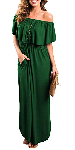 Womens Off The Shoulder Ruffle Party Dresses Side Split Beach Maxi Dress Dark Green S