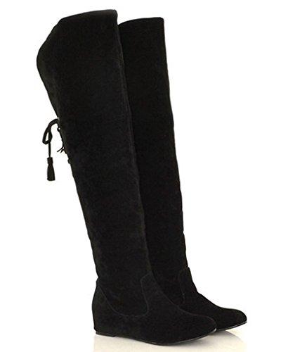 Minetom Mujer Invierno Moda Calentar Botas De Nieve Slouchy Botas De Piel Cargadores De La Rodilla Negro