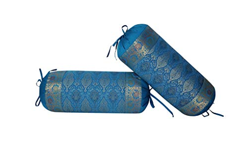 - Lalhaveli Indian Living Room Decorative Silk Bolster Cushion Cover Turquoise Color Living Room Decor 30 x 15 Inch Set of 2