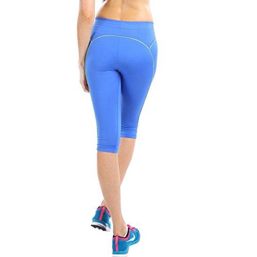 La Isla Women's Fitted Knee Tight Yoga Running Workout Sports Capri Leggings Pants Blue S