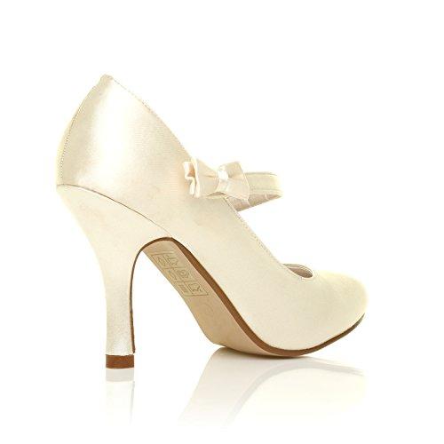 CHARLOTTE Elfenbein Satin High Heels Braut Schleife Mary Jane Schuhe