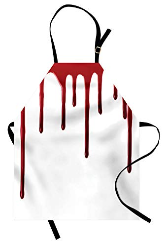 Ambesonne Horror Apron, Flowing Blood Horror Spooky Halloween Zombie Crime Scary Help me Themed Illustration, Unisex Kitchen Bib Apron with Adjustable Neck for Cooking Baking Gardening, Red White]()