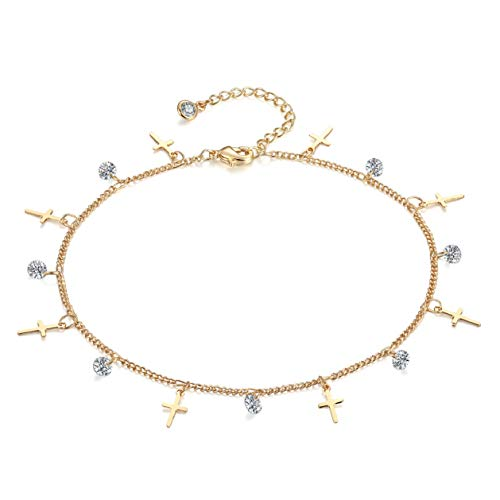 LOYATA Dainty Ankle Bracelet, 14K Gold Plated Tiny Bead Anklet Dainty White Cubic Zirconia Cross Tassel Foot Chain Cute Lucky Brach Foot Jewelry Boho Anklets for Women (Cross)