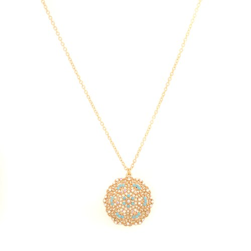 Spinningdaisy Gold Plated Dangling Turquoise Accent Flower Charm Necklace