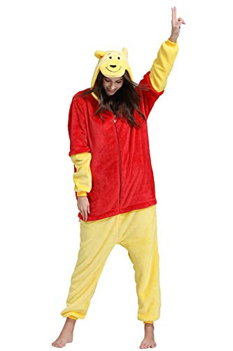 Yimidear Unisex Adult Pajamas Cosplay Costume Sleepwear Winnie The Pooh Pajamas (XL)