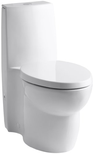 KOHLER K-3564-0 Saile Elongated One-Piece Toilet with Dual Flush Technology, White
