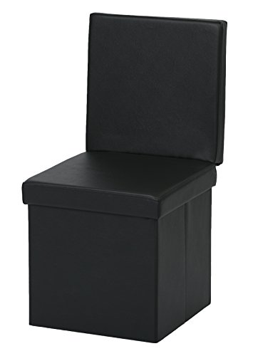 The FHE Group Folding Chair/Ottoman, Black Faux Leather