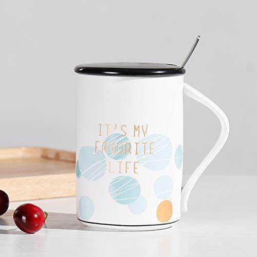 SHUIBEIHHY 450ml European Minimalist Ceramic Mug,Ceramic Tea Cups Mugs with lid Spoon,Cartoon Couple Coffee Mugs Milk Cup Drinkware
