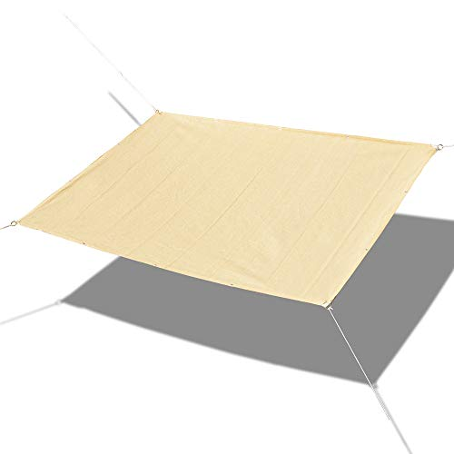 Alion Home Custom Sized Straight Edge Sun Shade Sail with Anti-Rust Grommets and Stainless D-Rings for Patio, Awning, Garden, Pergola or Gazebo 8 x 15 , Mocha Brown