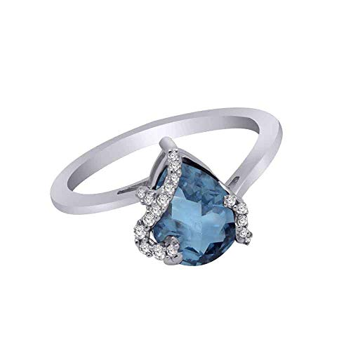 (10K Gold Pear Shape Sim. Gemstone & 0.08 Ct Real Diamond Bypass Solitaire Engagement Ring (white-gold, blue-topaz & real diamond))