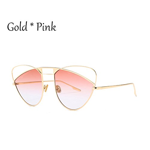 Grande Sol Rosa De Gafas Señoras Bastidor De Gold Gradiente Pink Lujo Gafas Sexy C4 Sombras Hueco Gafas TIANLIANG04 Mujer De Naranja De Uv Ojo C2 Gato C7w0qBP