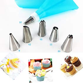 eroute66 8Pcs Stainless Steel Tips Tulip Sphere Whip Cream Buttercream Icing Piping Nozzles DIY Baking Tools 1#