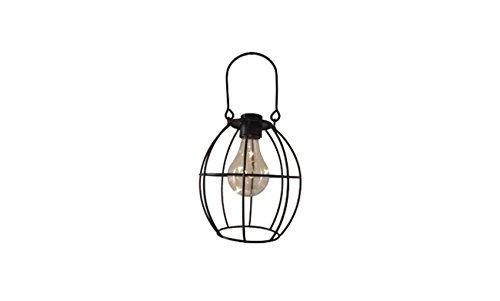 (ReLive Outdoor Black Metal Hanging Lantern with Encased Solar LED Light Bulb (68007-1))