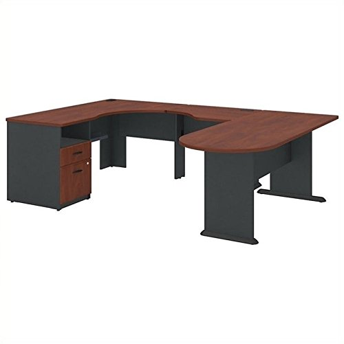 (Bush Business Furniture Series A U Shaped Corner Desk with Peninsula and)