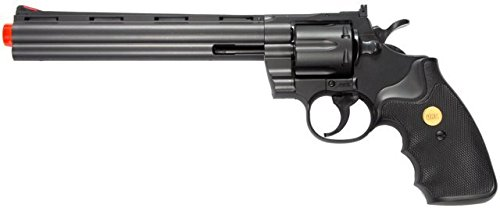 Wholesale TSD Sports Airsoft Spring Revolver - 8 Inch Barrel - Black with black ergo-grip, [Airsoft, Pistols] ()