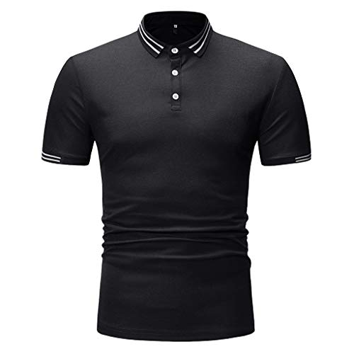 MOSERIAN Men's Shirts Fashion Short Sleeve Painting Large Size Casual Top Blouse Shirts Black ()