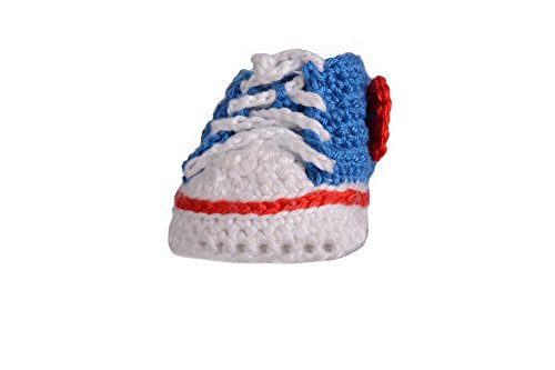 Mariandy Babyschuh Retro - Style in blau - rot (3-8 Monate)