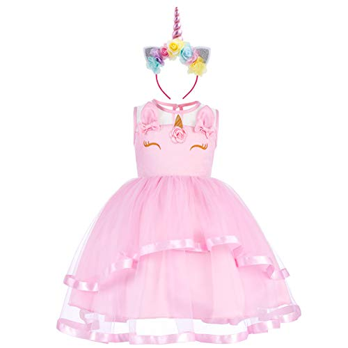 Baby Girls Toddler Flower Unicorn Sleeveless Costume Pageant Princess Ruffles Tulle Birthday Party Tutu A-line Dress Wedding Bridesmaid Short Prom Ball Gowns with Headband Ruffled Pink 8-9 ()