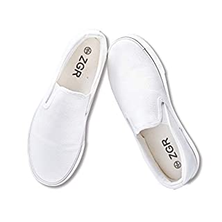 ZGR Women's Slip On Canvas Loafer Shoes Fashion Low Cut Sneakers,White,US8…