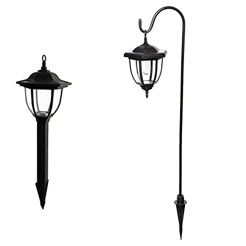 YOCHEA LED Solar Coach Lights Shepherds Hook Hanging Lamps with 2 lights