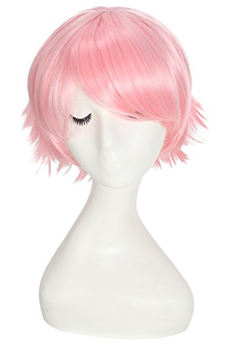[Nuoqi Anime Annie Cosplay Wigs Sweet Girls Short Light Pink Hairs] (Annie Costume League Of Legends)