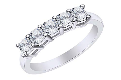 Cushion Shape White Natural Diamond Five Stone Wedding Ring 14k Solid White Gold (2.5 Cttw)