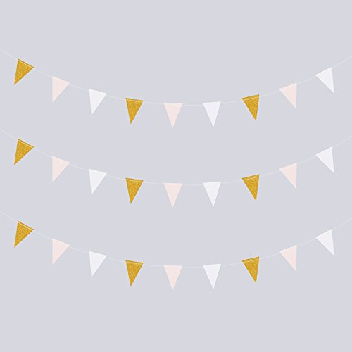 g Banner, MerryNine 3 Pack 30 Feet Vintage Style Pennant Banner for Wedding, Baby Shower, Event & Party Supplies 15pcs Flags (Triangle Flag - Pink White Gold Glitter) (Party Flag Banner)