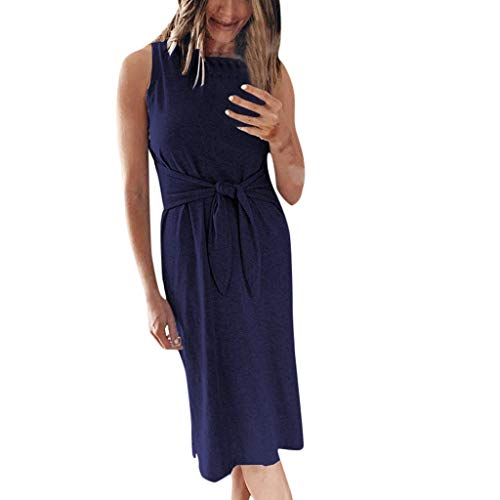 Nadition Casual Tank Dress ❤️️ Womens Sleeveless Bandage Tie Waist Long Midi Dress Ladies Simple Solid Color Loose Dress Dark Blue