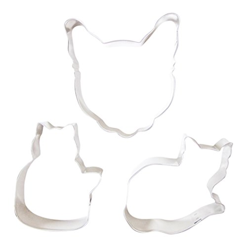 TwiceBooked Cat Lovers Cookie Cutter Bundle - Set of 3 Includes a Large Cat Head, Sitting & Lying Down - Sitting Kitty Cat