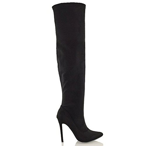 ESSEX GLAM Womens Black Synthetic Leather Over The Knee Thigh High Stiletto Heel Stretch Boots 5 B(M) US