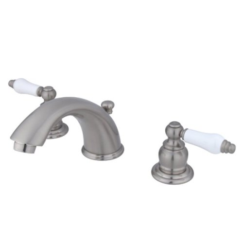 Lever Handle Brass Porcelain - Kingston Brass KB968PL Victorian Widespread Lavatory Faucet with Porcelain Lever Handle, Brushed Nickel