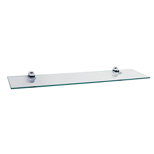 Danya B Clear Glass Floating Shelf with Chrome Brackets by Danya B
