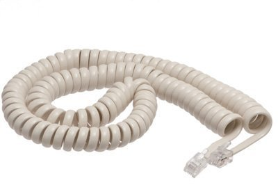 ECore Cables Off White Coiled Telephone Handset Cord - 12 Foot Standard Length - 1.5 Inch Flat Leader (Coiled Handset White)