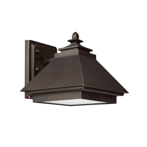 Capital Lighting 9092BB 1-Light Outdoor Wall Lantern-Dark Sky, Burnished Bronze with Rust Scavo Glass and Acid-Washed Glass Lens (Finish Bronze Washed)
