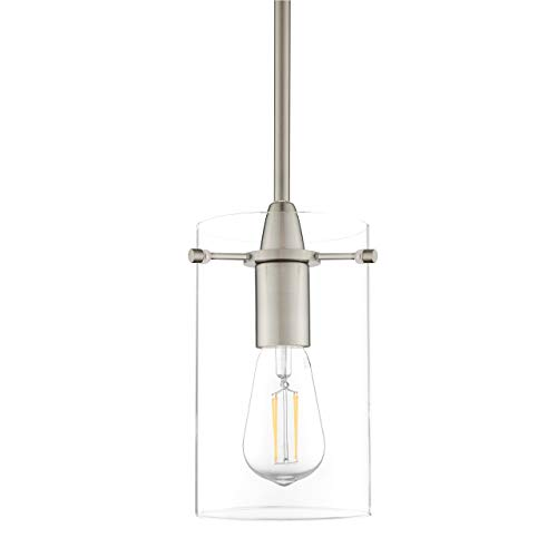 One Light Bar Pendant - Effimero Medium Hanging Pendant Light | Brushed Nickel Kitchen Island Light, Clear Glass Shade LL-P313-BN