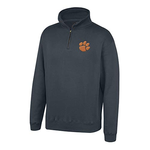 Top of the World NCAA Men's Clemson Tigers Dark Heather Classic Quarter Zip Pullover Charcoal Heather -