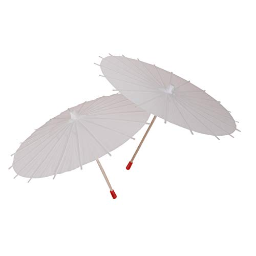 (LUOEM 2Pcs White Paper Parasol Umbrella Chinese Japanese Paper Umbrella Wedding)