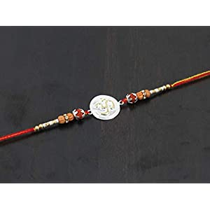GoldGiftIdeas Pure 999 Silver OM Rakhi for Brother, Golden -Silver Rakhi for Rakshabandhan with Pooja Thali Set (5 Inch…