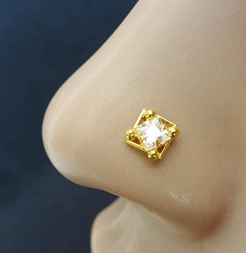 4 MM Gold Nose Ring,Unique Nose Stud,Crystal Nose Cuff,Indian Nose Screw,Diamond Piercing,Tiny Piercing,CZ Simulated Diamond Piercing,Monroe Nose Stud,Cubic Zirconia,Crock Screw Piercing(TEJ654) (Turquoise Diamond Stud)