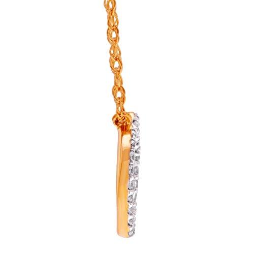 Petit pendentif en 14/Droite Jaune 750/1000avec Diamant (0,07carat)