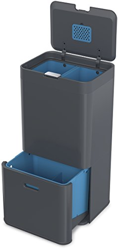 Joseph Joseph 30025 Intelligent Waste Totem Trash Can and Recycler Unit Garbage Can Recycling Bin, 15-gallon, Gray by Joseph Joseph