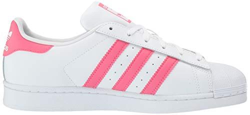 adidas Originals Unisex Superstar Running Shoe White/Real Pink/Real Pink, 5 Medium US Little Kid