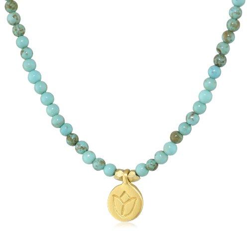 Satya Jewelry Classics Turquoise Mini Lotus Strand Necklace, 18