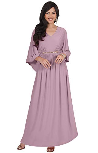 KOH KOH Plus Size Womens Long V-Neck Half Batwing Dolman Sleeve Evening Cocktail Flowy Empire Waist Bridesmaid Formal Kaftan Wedding Guest Gown Gowns Maxi Dress Dresses, Dusty Pink 2XL 18-20