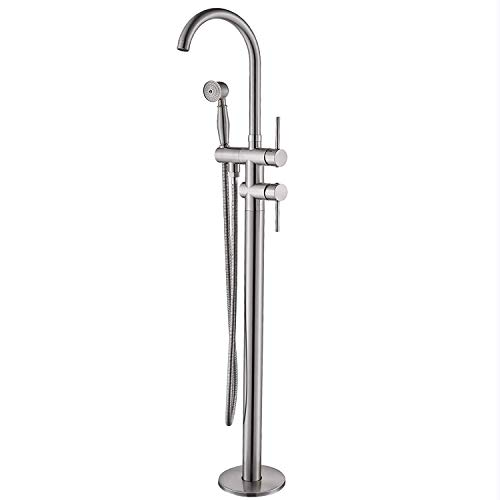 Senlesen Stainless Steel Floor Mounted Bathroom Faucets Free Standing Bathtub Filler Taps with Handheld Shower Brushed Nickel