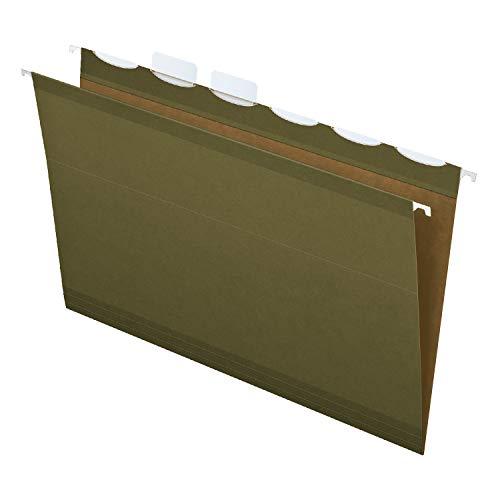 Pendaflex Ready-Tab Reinforced Hanging File Folders, Legal Size, Standard Green, 6 Tab, 25/BX (42591) ()