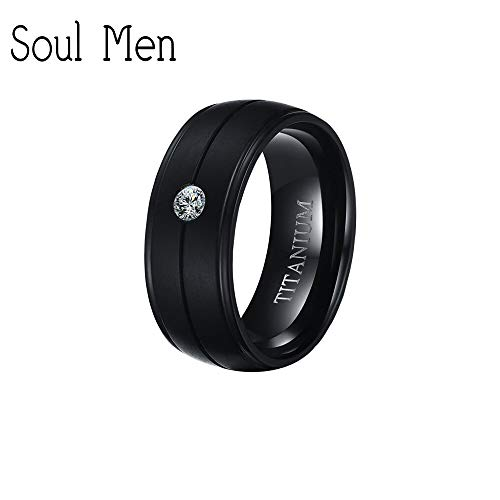 Men's Soul Black Brushed Groove Center Pure Titanium Rings | Cubic Inlay Rings | for Men Women | Wedding Engagement Jewelry