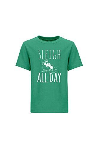Kid's Tees, Funny Boy's Shirt, Sleigh All Day, Green, Medium