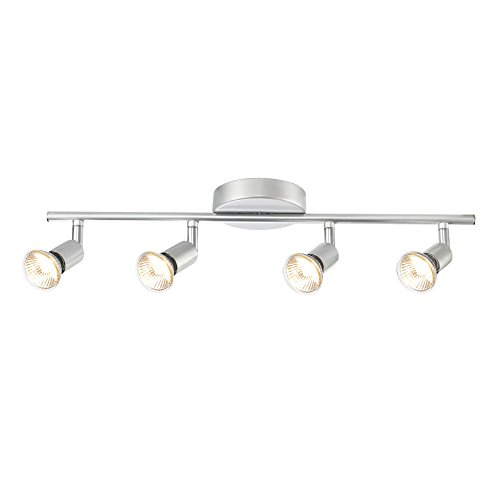 Globe Electric 4-Light Track Kit Light Bar, Brushed Silver Finish, GU10 Bulb Base Code, (Four Light Celing Lamp)