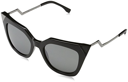 Fendi Women's Mirrored Corner Accent Sunglasses, Black/Black Mirror, One - Fendi Black